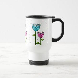 Fun Doodle Flowers blue pink dots Travel Mug