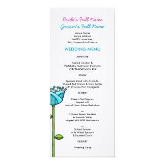 Fun Doodle Flowers blue pink dots Wedding Menu 4x9.25 Paper Invitation Card