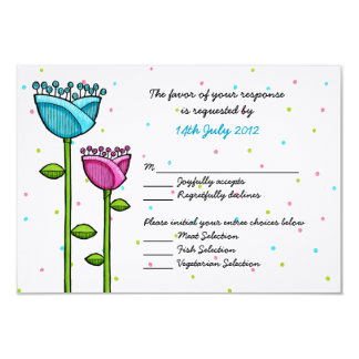Fun Doodle Flowers blue pink dots Wedding RSVP Card