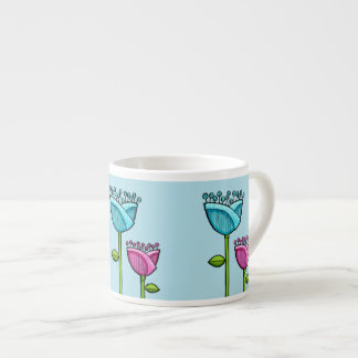 Fun Doodle Flowers blue pink Espresso Mug 6 Oz Ceramic Espresso Cup