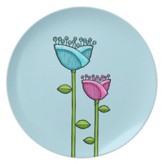 Fun Doodle Flowers blue pink Plate