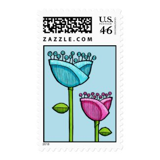 Fun Doodle Flowers blue pink Stamp stamp