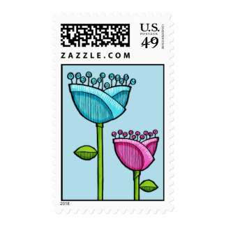 Fun Doodle Flowers blue pink Stamp