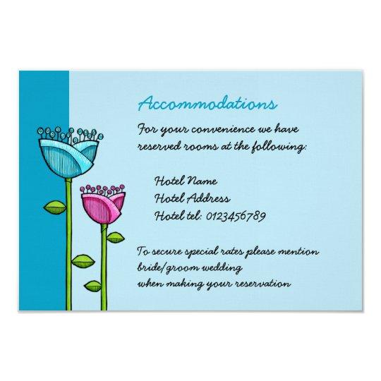 Fun Doodle Flowers blue pink Wedding Enclosure Card