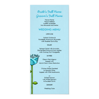 Fun Doodle Flowers blue pink Wedding Menu 4x9.25 Paper Invitation Card