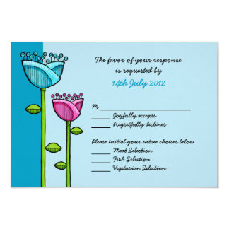 Fun Doodle Flowers blue pink Wedding RSVP Card