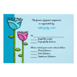 Fun Doodle Flowers blue pink Wedding RSVP Card Custom Invites