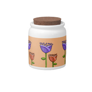 Fun Doodle Flowers orange purple Candy Jar