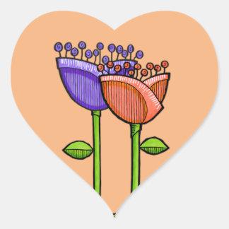 Fun Doodle Flowers orange purple dots Heart Stickers