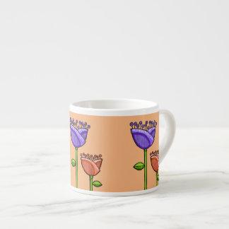 Fun Doodle Flowers orange purple Espresso Mug 6 Oz Ceramic Espresso Cup
