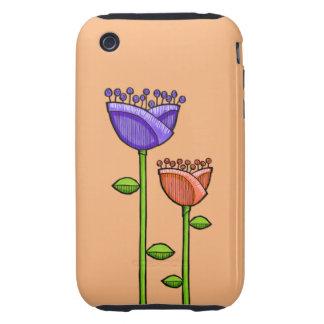 Fun Doodle Flowers orange purple iPhone 3G 3GS iPhone 3 Tough Covers