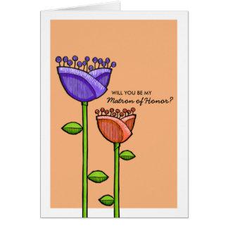Fun Doodle Flowers orange purple Matron Honor Card