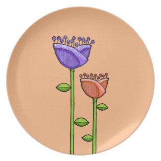 Fun Doodle Flowers orange purple Plate