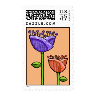 Fun Doodle Flowers orange purple Stamp