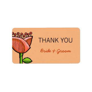 Fun Doodle Flowers orange purple Thank You Sticker Address Label