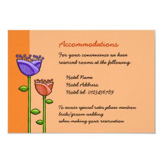 Fun Doodle Flowers orange purple Wedding Enclosure Custom Invites