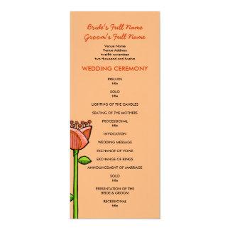 Fun Doodle Flowers orange purple Wedding Program Personalized Announcement