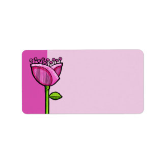 Fun Doodle Flowers pink Address Label