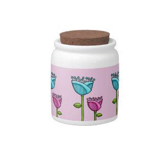 Fun Doodle Flowers pink blue Candy Jar