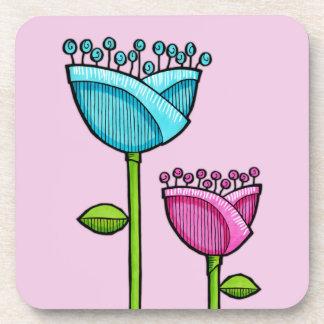 Fun Doodle Flowers pink blue Cork Coaster