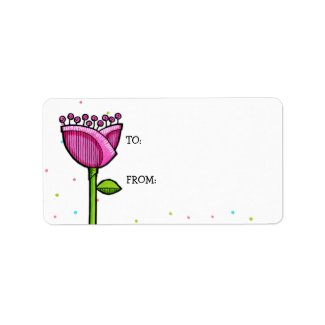 Fun Doodle Flowers pink blue dots Gift Tag label