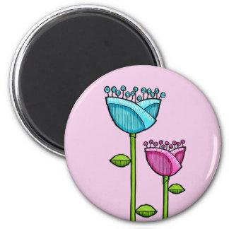 Fun Doodle Flowers pink blue Magnet
