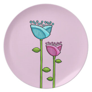 Fun Doodle Flowers pink blue Plate