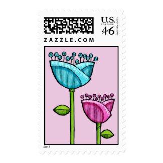 Fun Doodle Flowers pink blue Stamp stamp