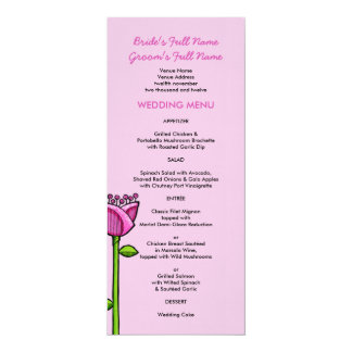 Fun Doodle Flowers pink blue Wedding Menu Card