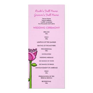 Fun Doodle Flowers pink blue Wedding Program 4x9.25 Paper Invitation Card