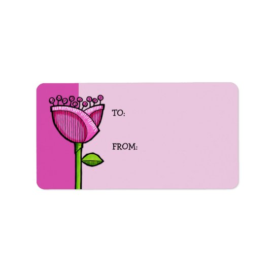 Fun Doodle Flowers pink Gift Tag