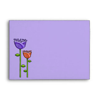 Fun Doodle Flowers purple orange A7 Envelope