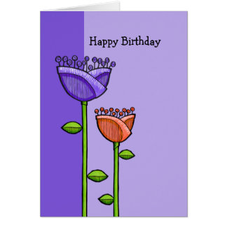 Fun Doodle Flowers purple orange Birthday Card