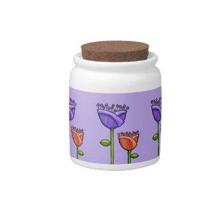 Fun Doodle Flowers purple orange Candy Jar