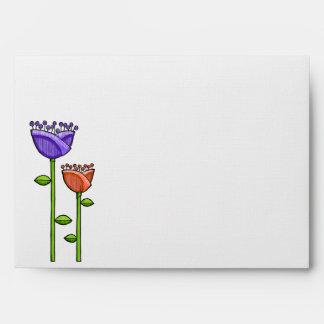 Fun Doodle Flowers purple orange dots A7 Envelope