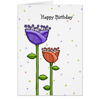 Fun Doodle Flowers purple orange dots Birthday Card