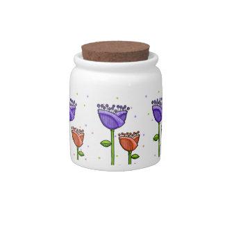 Fun Doodle Flowers purple orange dots Candy Jar