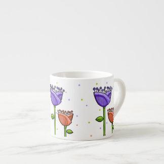 Fun Doodle Flowers purple orange dots Espresso Mug 6 Oz Ceramic Espresso Cup