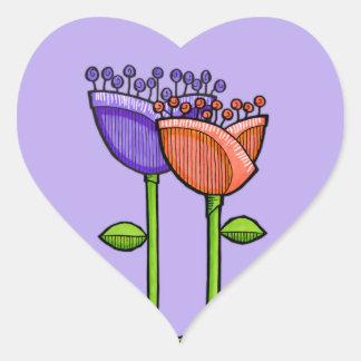 Fun Doodle Flowers purple orange dots Heart Heart Stickers
