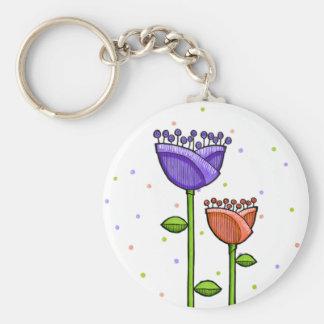Fun Doodle Flowers purple orange dots Basic Round Button Keychain