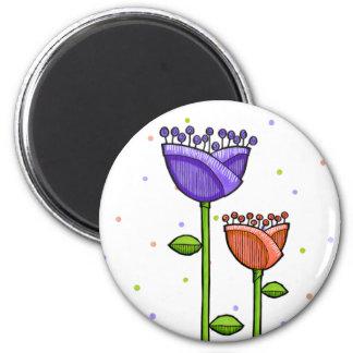 Fun Doodle Flowers purple orange dots Magnet