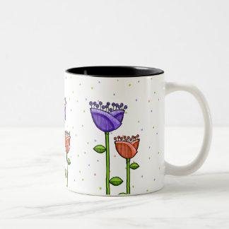 Fun Doodle Flowers purple orange dots Mug
