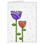 Fun Doodle Flowers purple orange dots Note Card