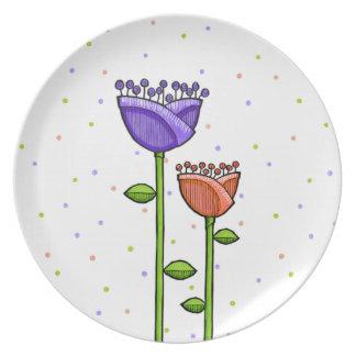Fun Doodle Flowers purple orange dots Plate