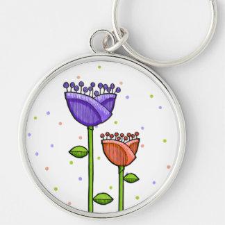 Fun Doodle Flowers purple orange dots Premium Silver-Colored Round Keychain