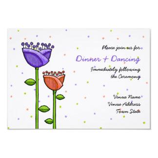 Fun Doodle Flowers purple orange dots Reception Personalized Announcement