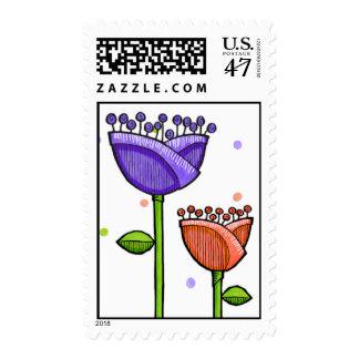 Fun Doodle Flowers purple orange dots Stamp
