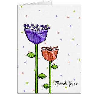 Fun Doodle Flowers purple orange dots Thank You Card