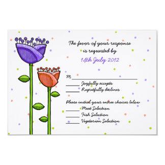 Fun Doodle Flowers purple orange dots Wedding RSVP Card