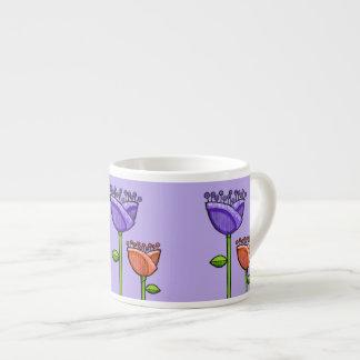 Fun Doodle Flowers purple orange Espresso Mug 6 Oz Ceramic Espresso Cup